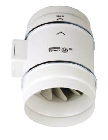 S&P TD 250/100 T IP44 potrubní ventilátor s doběhem