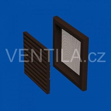 Plastová Ventilační mřížka VP MV 100 s (se síťkou) - hnědá