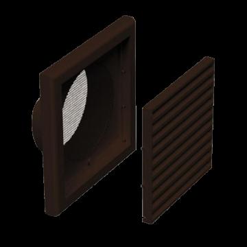 Plastová Ventilační mřížka VP MV 120 Vs (se síťkou a kruhovým nástavcem) - hnědá