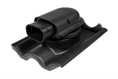 Solární průchodový prvek pro betonovou tašku, černá RAL 9005
